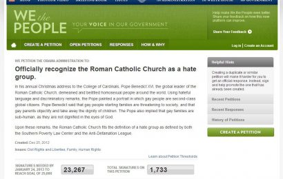 """White House Petition Labels Catholic Church a """"Hate Group"""""""